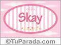 Nombre Nombre Skay de bebé, para imprimir
