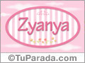 Nombre Nombre Zyanya de bebé, para imprimir