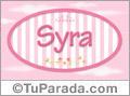 Syra, nombre de bebé de niña