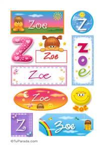 Zoe, nombre para stickers