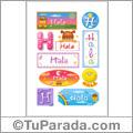 Hala, nombre para stickers