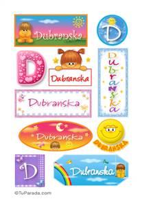 Dubranska, nombre para stickers