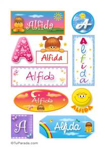 Alfida, nombre para stickers