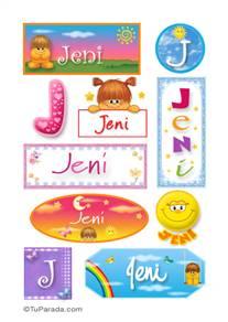 Jeni, nombre para stickers