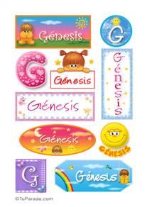 Génesis, nombre para stickers