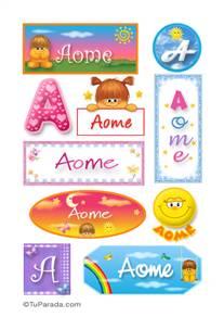 Aome, nombre para stickers