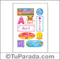 Abril, nombre para stickers