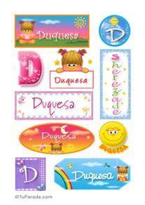 Duquesa, nombre para stickers