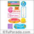 Gloriana, nombre para stickers