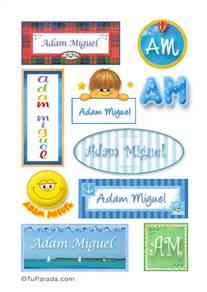 Adam Miguel, nombres para stickers