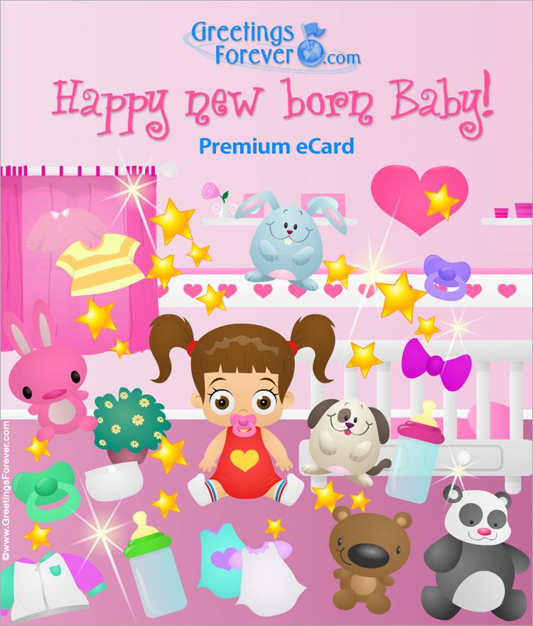 Ecard - Expandable baby girl ecard