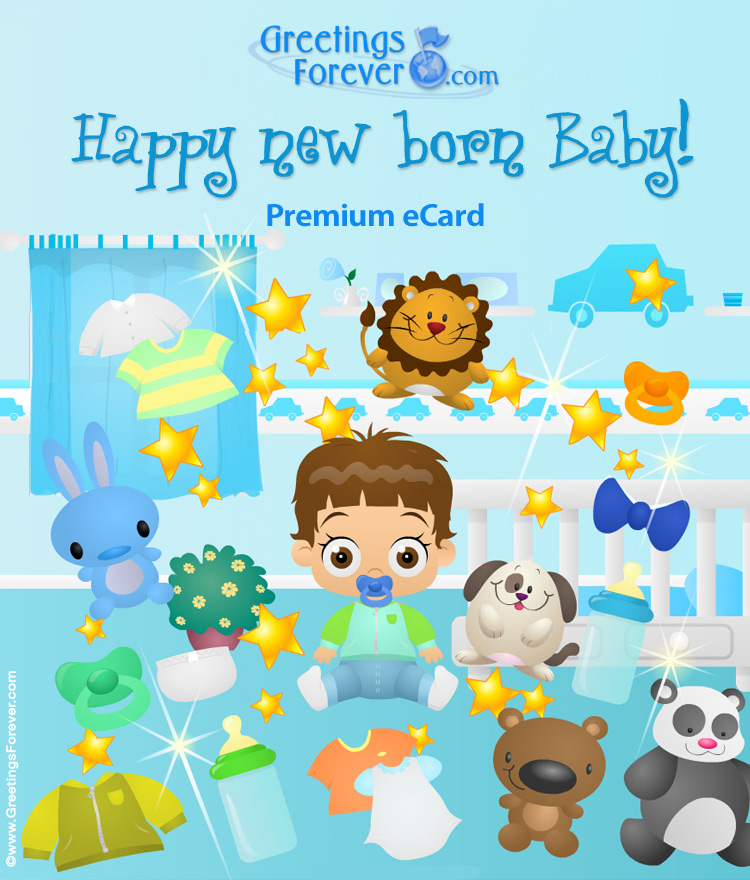 Ecard - Expandable baby boy ecard