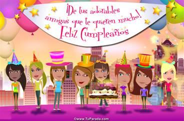 Tarjeta de cumpleaños de grupo de mujeres