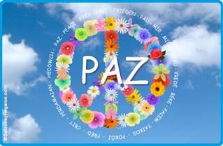 Tarjeta de Paz con flores