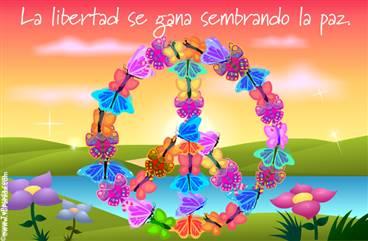 Tarjeta - Símbolo de la paz con mariposas