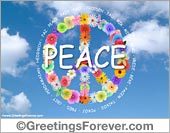 Peace with flowers ecard