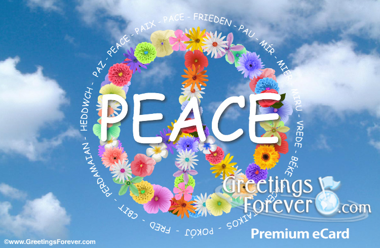 Ecard - Peace with flowers ecard