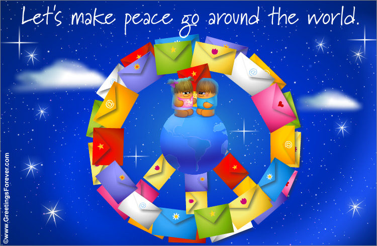 Ecard - Peace Symbol with envelopes
