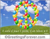 Peace Symbol ecard with balloons