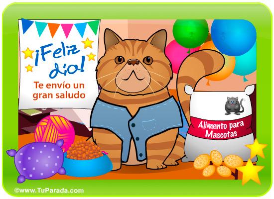 Tarjeta - Gato marrón, feliz día