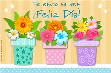 Tarjeta de feliz día con macetas y flores