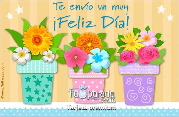 Tarjeta - Tarjeta de feliz día con macetas y flores