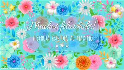 Tarjeta de feliz día celeste con flores