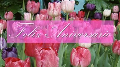 Ecard de aniversario con flores