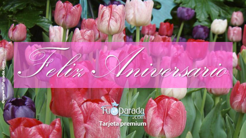 Tarjeta - Ecard de aniversario con flores