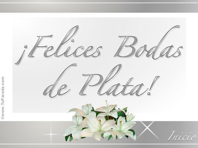 Feliz Aniversario 25: Enviar Tarjeta, Postal, Tarjeta De Felices Bodas De Plata