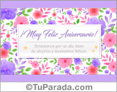 Tarjeta de aniversario con recuadro de flores