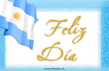 Feliz día con bandera Argentina