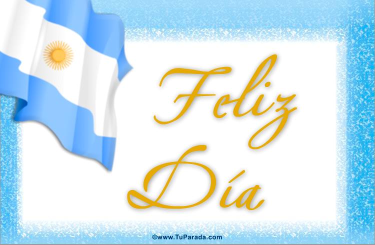 Tarjeta - Feliz día con bandera Argentina