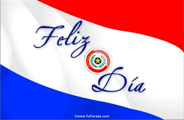 Postal con la bandera de Paraguay