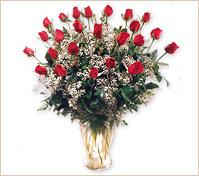Veinticuatro rosas en florero