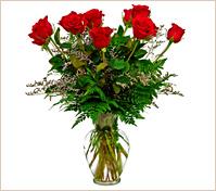 Doce rosas rojas en florero