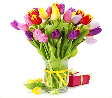 Tulipanes de colores en florero
