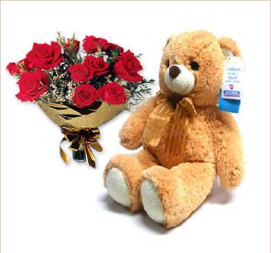 oso grande con ramo de rosas rojas - Fotos De Rosas Rojas Grandes