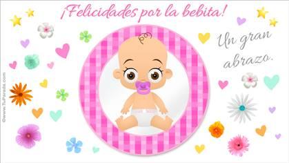 Tarjeta de feliz nacimiento en rosa