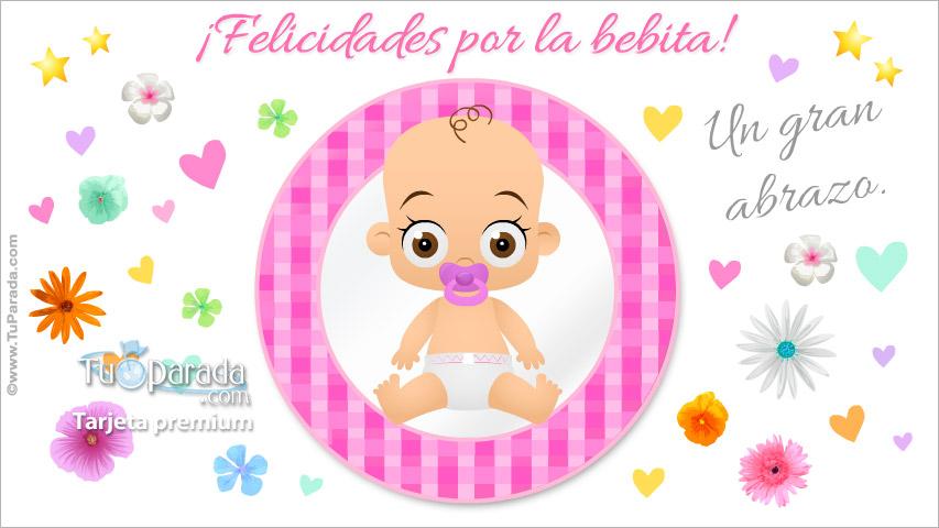 Tarjeta - Tarjeta de feliz nacimiento en rosa