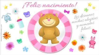 Tarjeta para nacimiento rosa con oso