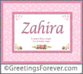 Meaning of Zahira to print or send