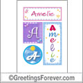 Name Amelie and initials