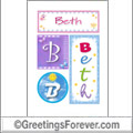 Name Beth and initials
