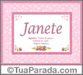 Significado e origem de Janete