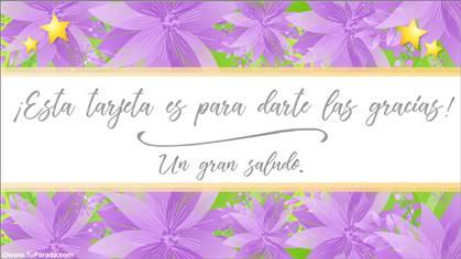Tarjeta de gracias en lila