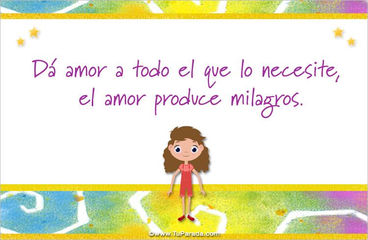 Tarjeta - El amor produce milagros