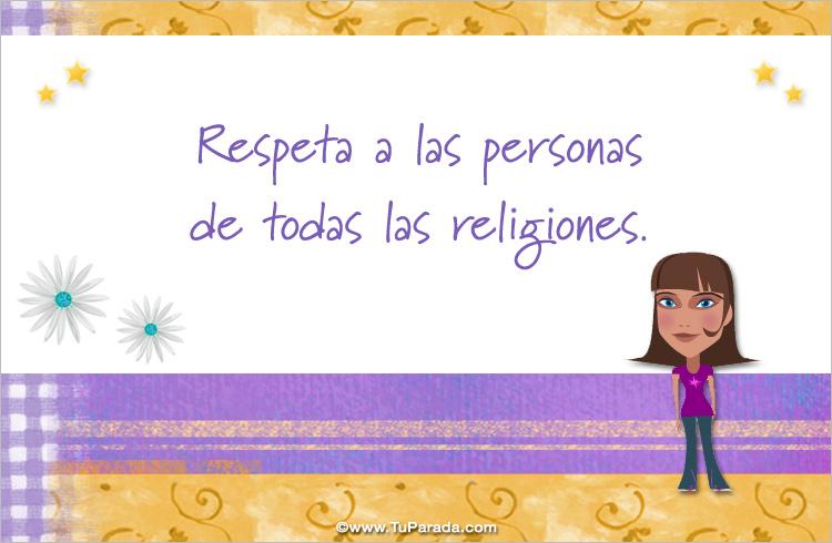 Tarjeta - Respeta a todas las religiones