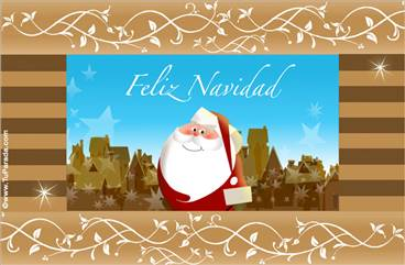 Tarjeta con Papá Noel y casas