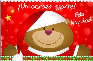 Tarjeta de Navidad con oso navideño